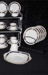 Royal Albert Crown Art Deco Pattern Bone China Vintage Tea Set , Dessert or Tea Plates, Creamer and Two Platters