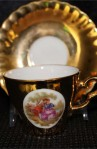 Rheinpfalz Hartporzellan Gold Gilt China Vintage Tea or Coffee Set , Cups , Saucers , Creamer and Sugar Bowl