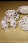 Aynsley Fine Bone China Rosedale Pattern 13698 Crocus Style Vintage Partial Tea Set , Cup , Saucer , Sugar and Salt Shaker