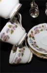 John Aynsley and Sons April Rose 2554 Pattern Fine Bone China Vintage Tea Set , Cups, Saucers, Tea Spoons and Rack