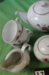 Fine China of Japan Moss Rose Pattern Fine Bone China Vintage Tea Set . Tea Pot , Creamer and Sugar Bowl