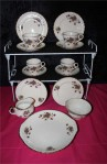 W H Grindley and Co Cream Petal Violets Pattern Fine Bone China Vintage , 15 Piece Tea Set , Cups , Saucers , Platter and Tea Plates