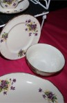 W H Grindley and Co Cream Petal Violets Pattern Fine Bone China Vintage Tea Set , Sugar Bowl and Tea Plates