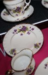 W H Grindley and Co Cream Petal Violets Pattern Fine Bone China Vintage Tea Set , Creamer and Tea Plates