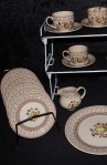 Johnson Brother Staffordshire Old Granite Fruit Sampler Older Pattern China Tea Set , Cups , Saucers , Tea Plates , Creamer, Plus