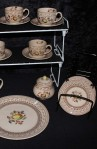 Johnson Brother Staffordshire Old Granite Fruit Sampler Older Pattern China Tea Set , Sugar Bowl and Platter, Plus