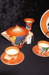 MMDA New York Metropolitan Museum of Modern Art Clarice Cliff Pattern Tea Set with Tea Pot and Candle Holder