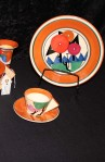 MMDA New York Metropolitan Museum of Modern Art Clarice Cliff Pattern , 9 Piece Tea Set , Service for Two